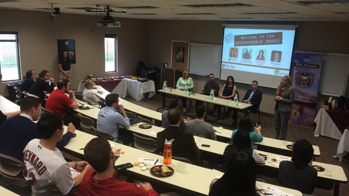MBA students at an entrepreneur panel in 2015